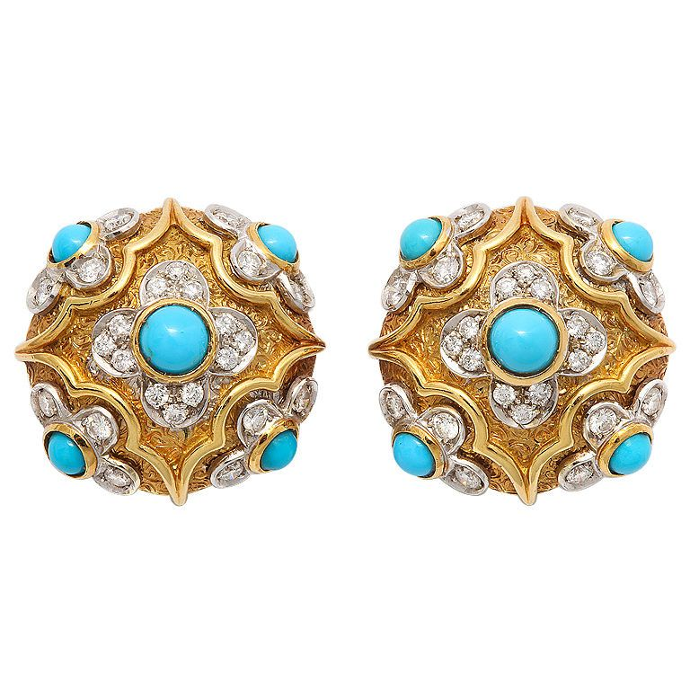 Cot In A Box Morocco Turquoise: TIFFANY Moroccan Style Turquoise And Diamond Ear Clips
