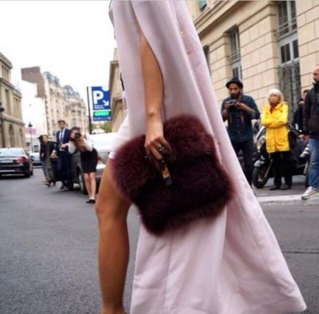 Burgundy faux fur bag
