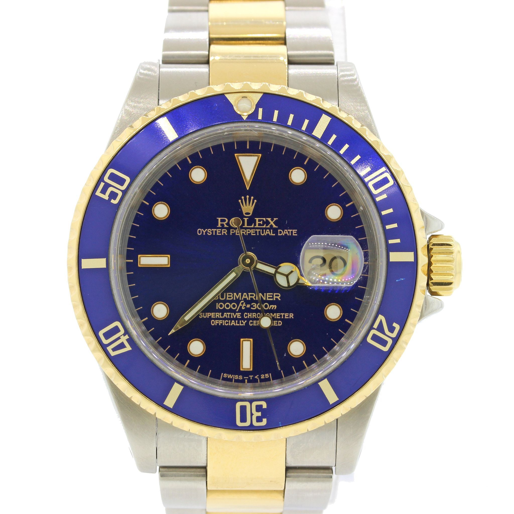 f999b77942a Rolex Submariner 16613 Steel 18k Gold Two Tone Blue Date Diver Watch with  OrgBox