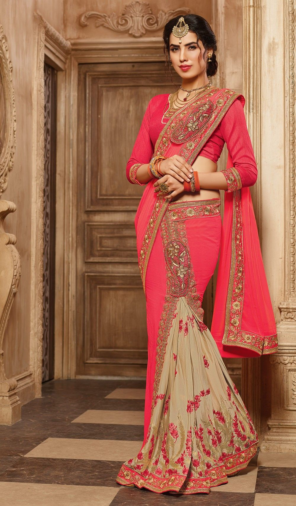 554e6be050 Trendy Pink & Beige Ready pleated saree for festivals | Indian ...
