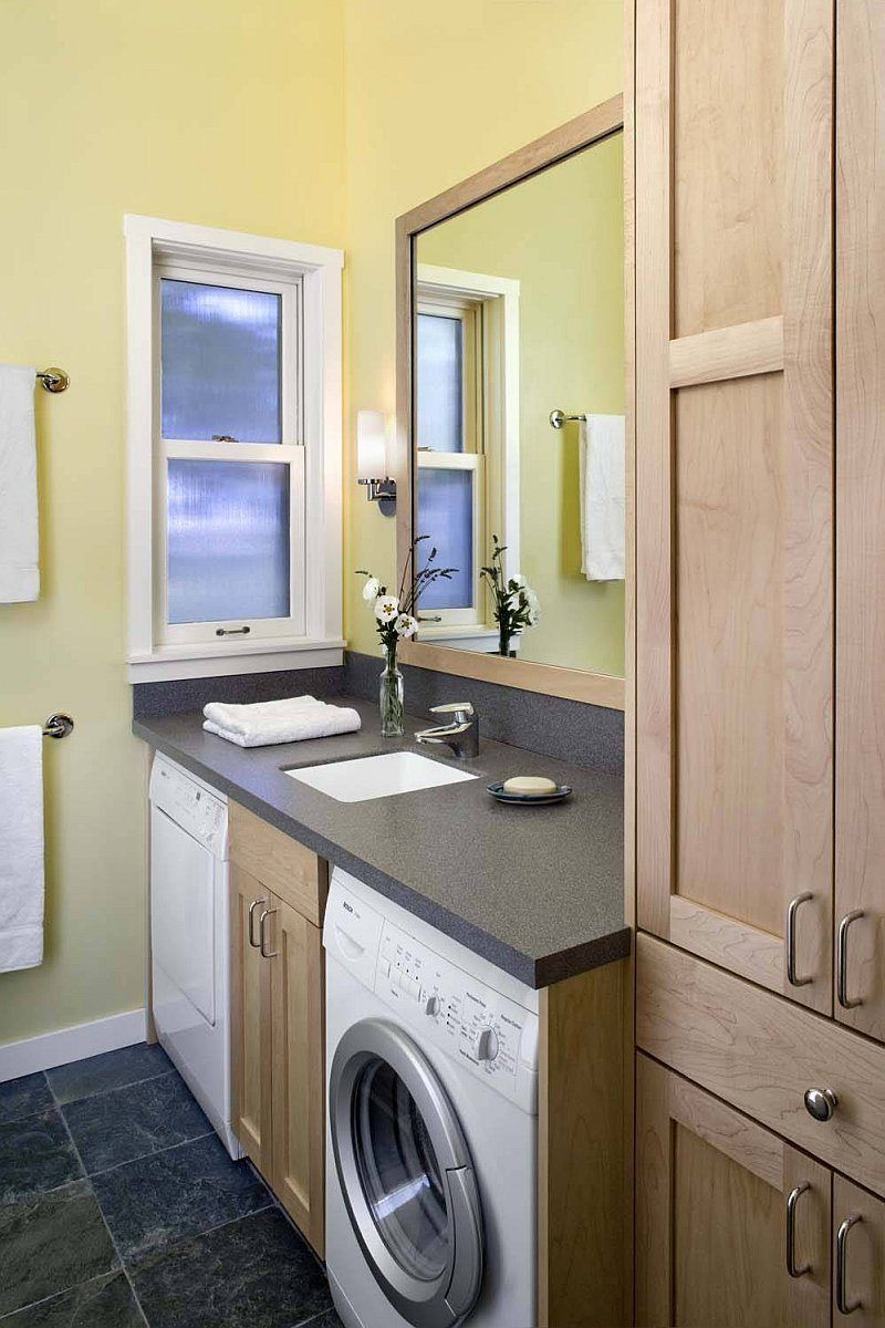 A Woodsy Cottage By Architect Cathy Schwabe With 2 Bedrooms In 840 Sq Ft Rustic Laundry Rooms Bathroom Layout Laundry Room Design
