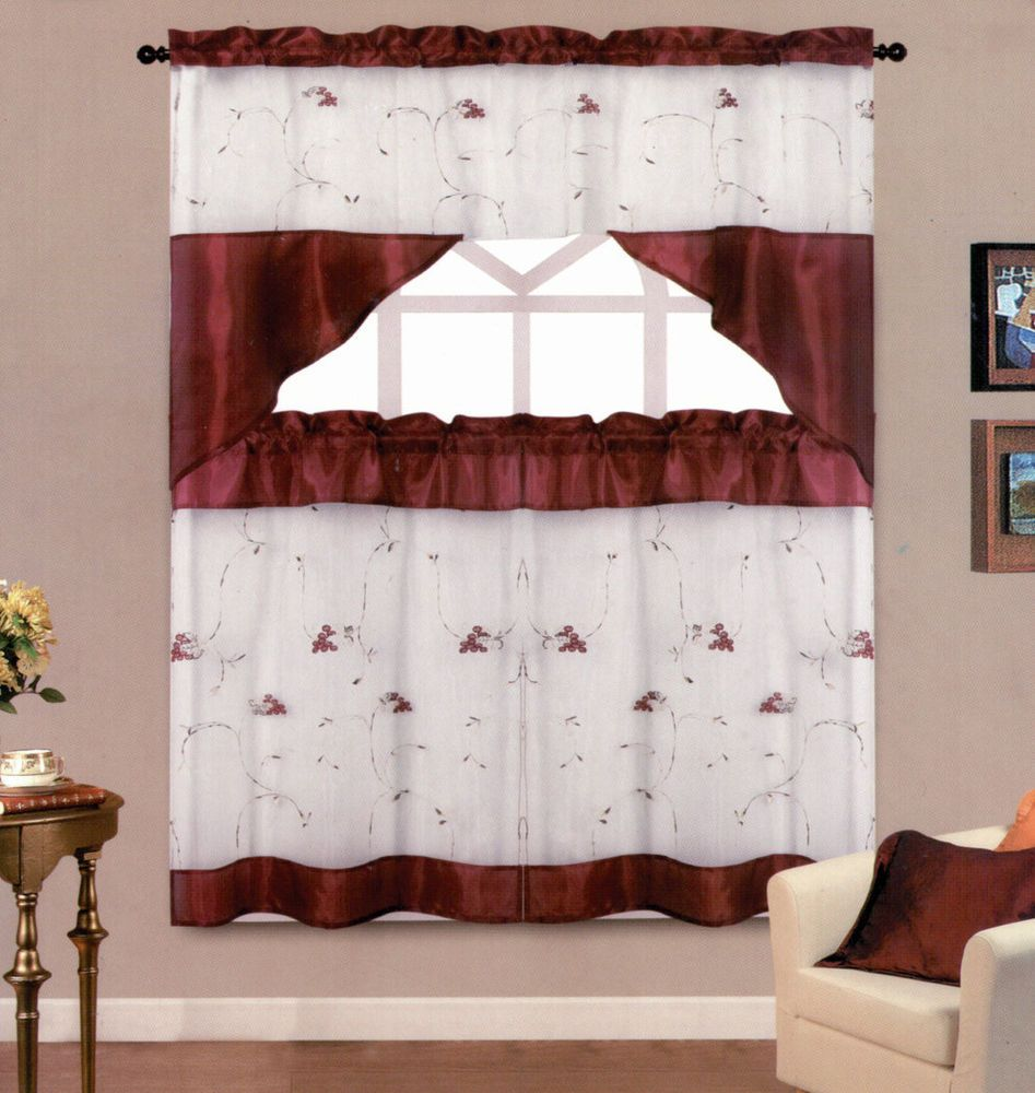 Details About Vcny Daphne Embroidered Kitchen Curtain Set