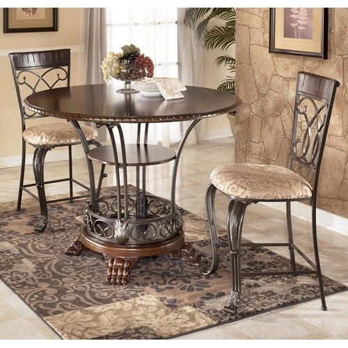 Ashley Furniture Alyssa Wood Metal Counter Height Dining Table Set