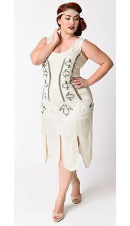 cbfd6cbe469 Unique Vintage Plus Size 1920s Antique Ivory Beaded Sateen Eleanor Flapper  Dress