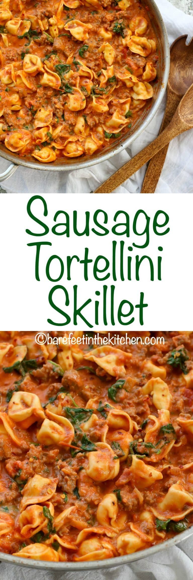 Sausage Tortellini And Spinach In A Creamy Tomato Sauce Is A Fantastic 20 Minute Dinner Plan Get The Rec Tortellini Recipes Sausage Tortellini Pasta Dinners