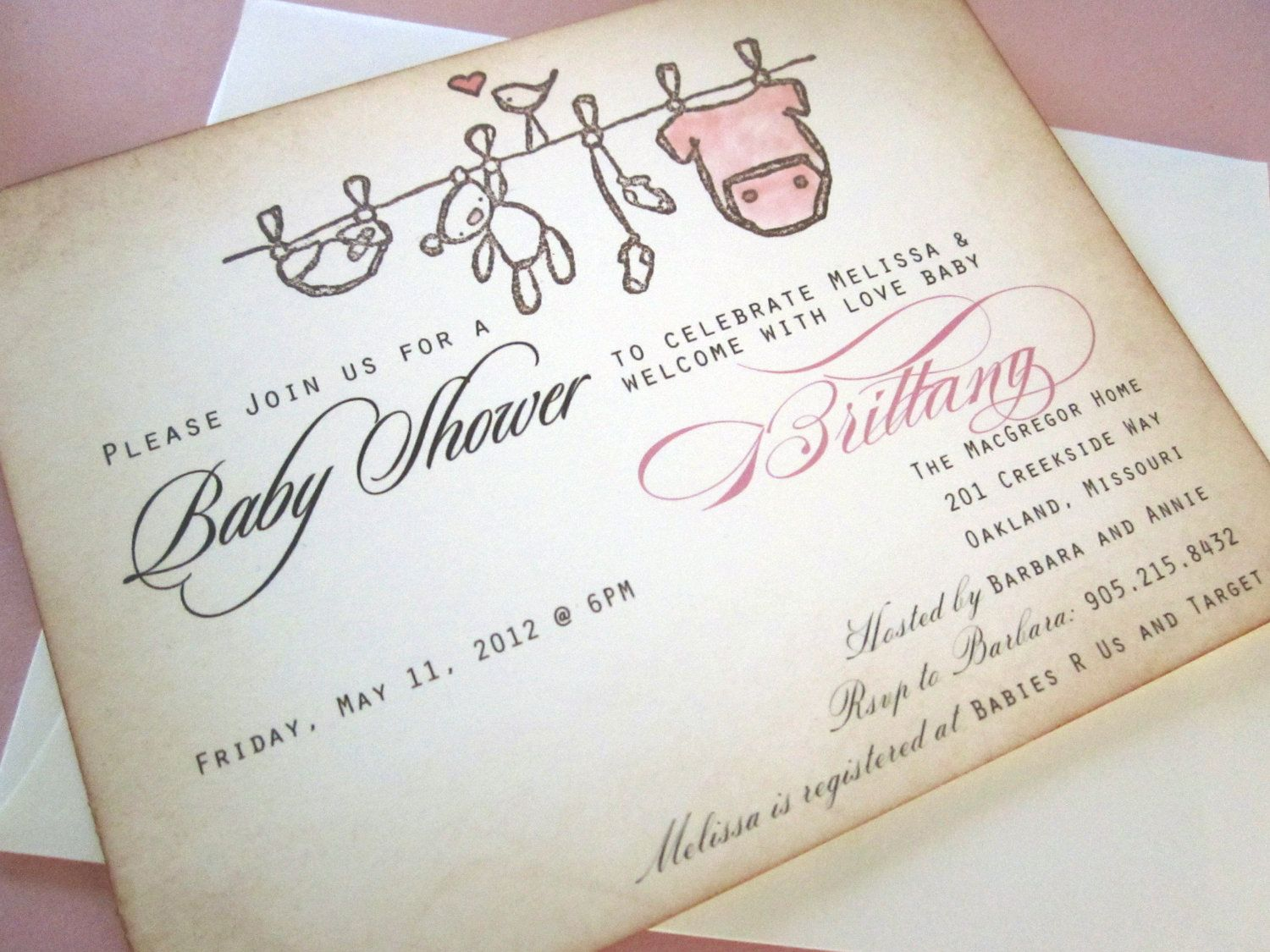Baby Shower Invitation AS SEEN ON Disney Baby  Onesie Clothesline   Vintage  Appearance  Set