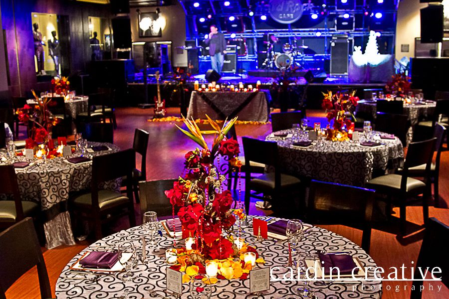Hard Rock Wedding Reception Las Vegas Strip Linen Flowers Placesettings Centerpieces