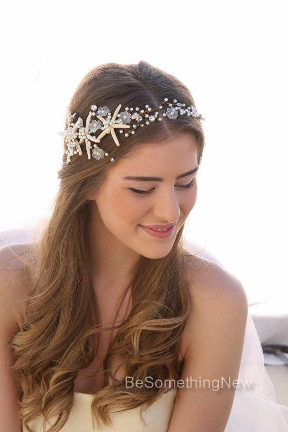 Spiaggia Matrimonio Starfish capelli accessorio wired Hair Vine, testa di nozze nautico, destinazione testa di pesce stella fascia da sposa