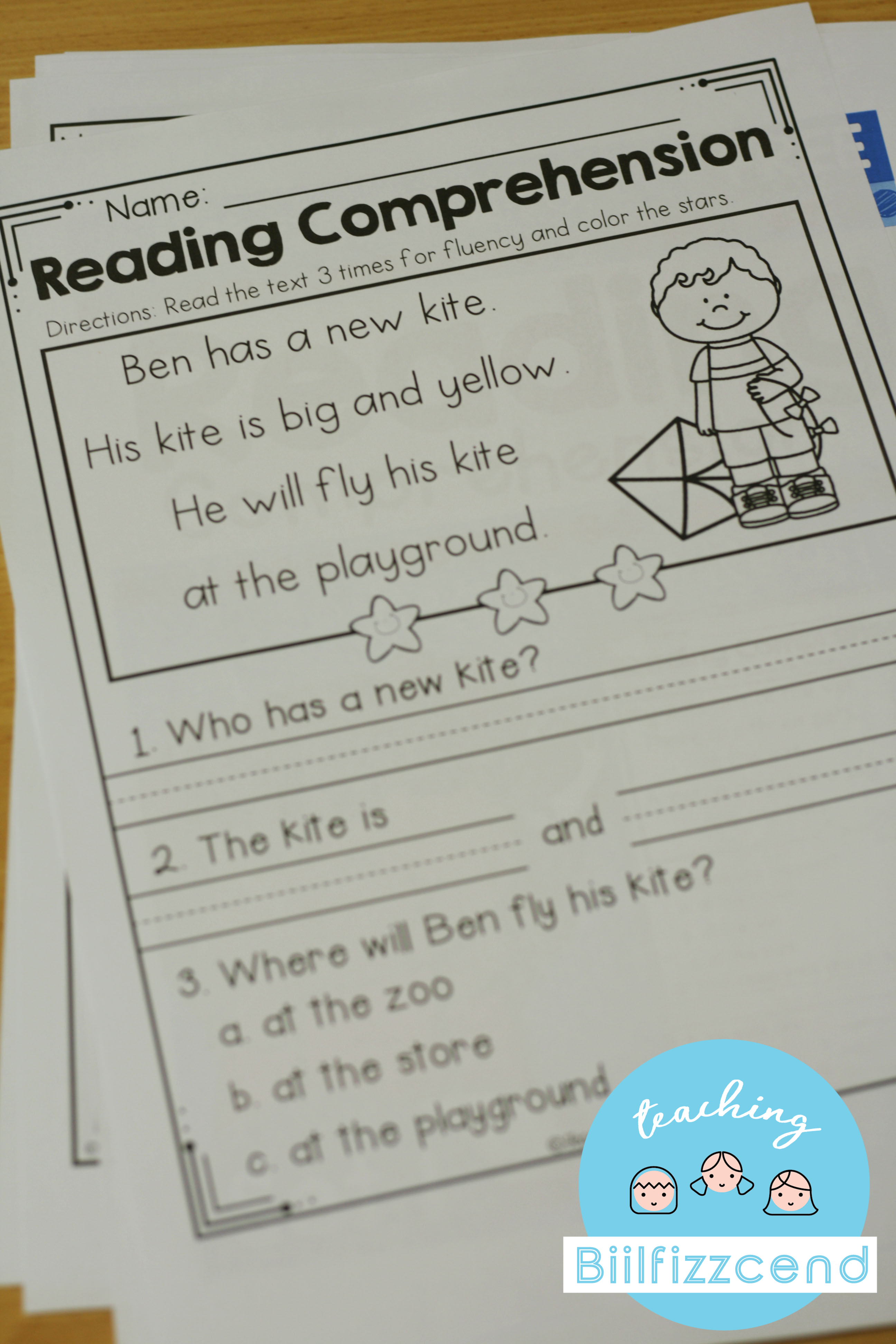 Free Kindergarten Reading Comprehension Spring Edition