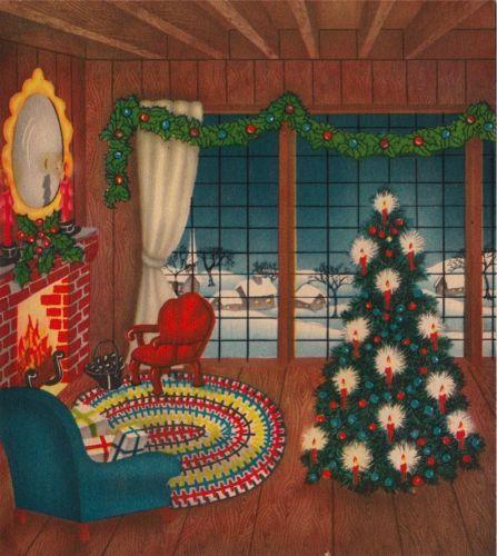 vintage christmas cards fireplaces | Vintage Greeting Card Christmas Interior…