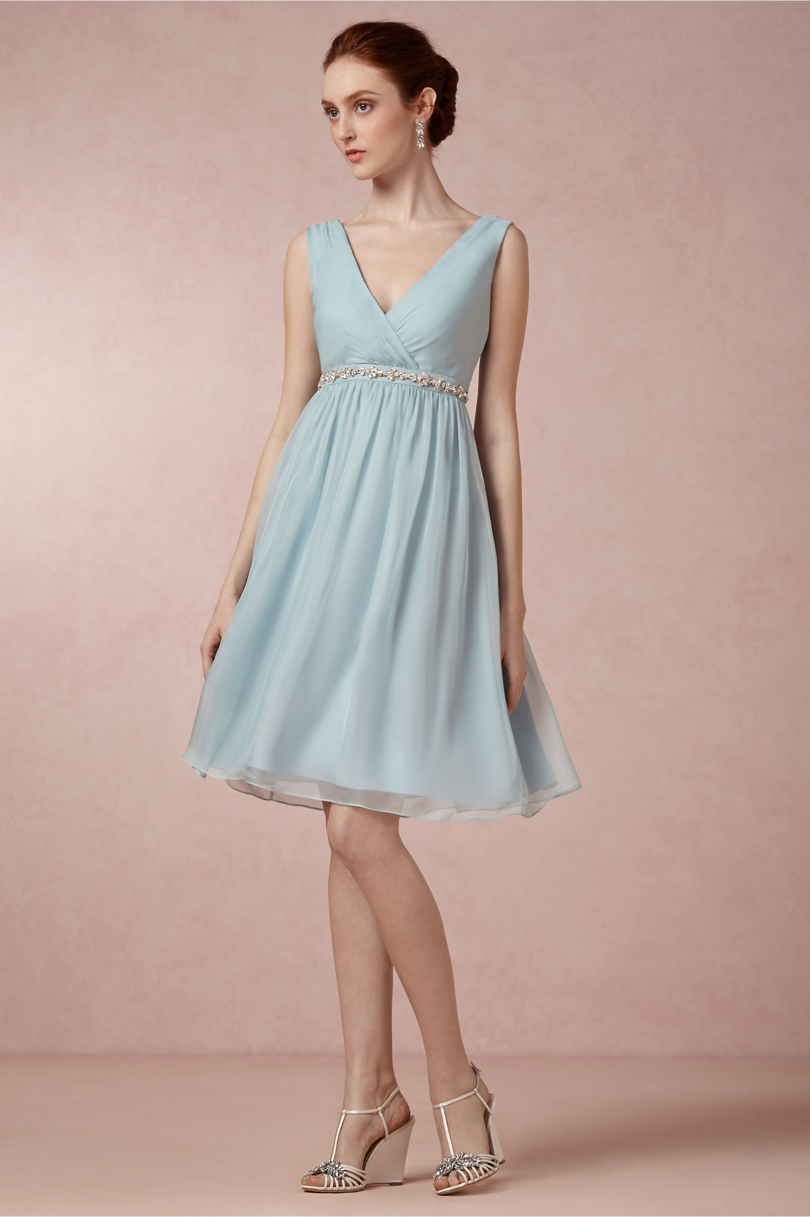 Vintage Lace Detail Knee Length Chiffon Bridesmaid Dress | Wedding ...