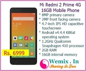 Mi Redmi 2 Prime 4G 16GB Mobile Phone Rs 6999 | Mobile & Accessories