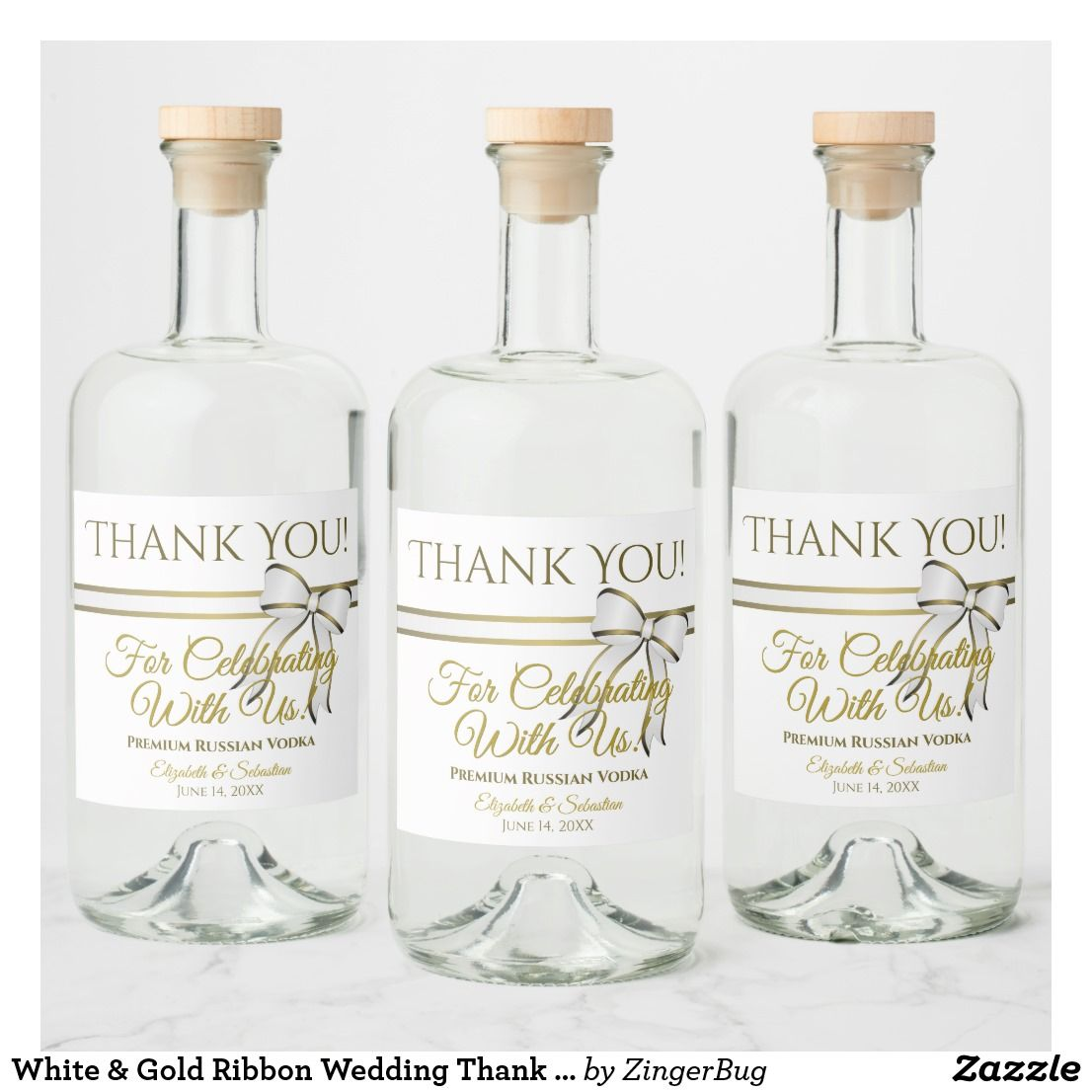 White & Gold Ribbon Wedding Thank You Liquor Bottle Label