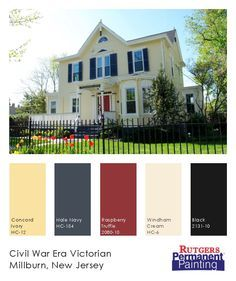 Exterior Paint Color Inspiration. Yellow, Navy, Cream U0026 Red On A Victorian  Home