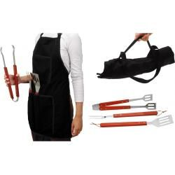 Photo of BBQ cutlery with apron – BBQ – 4-piece barbecue grill set