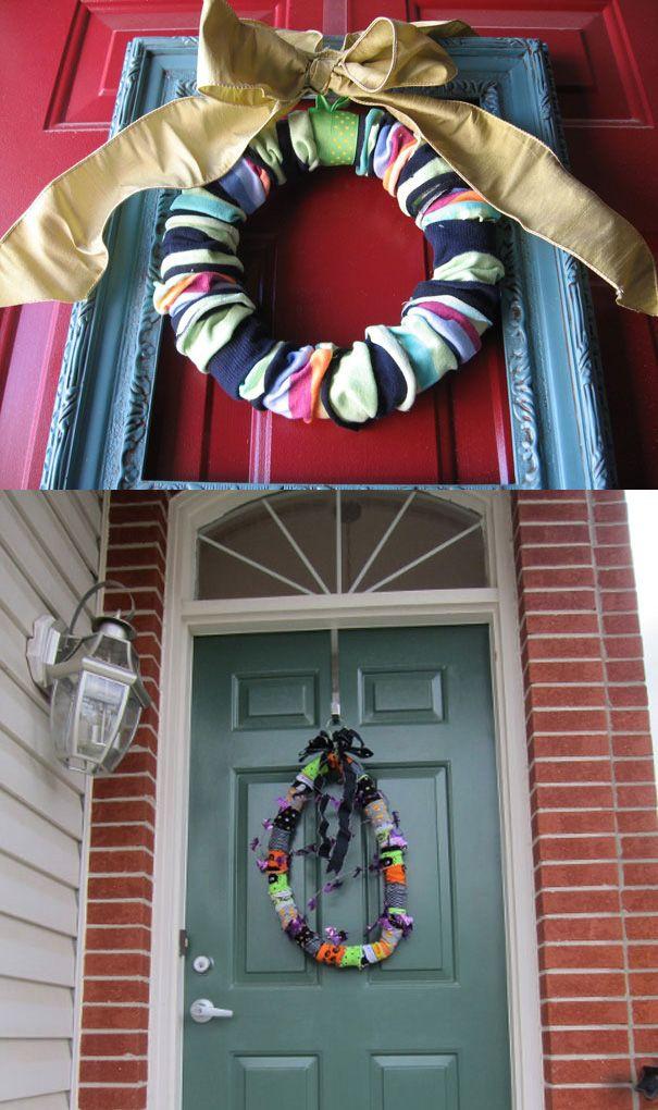 sock wreath   Door Decor