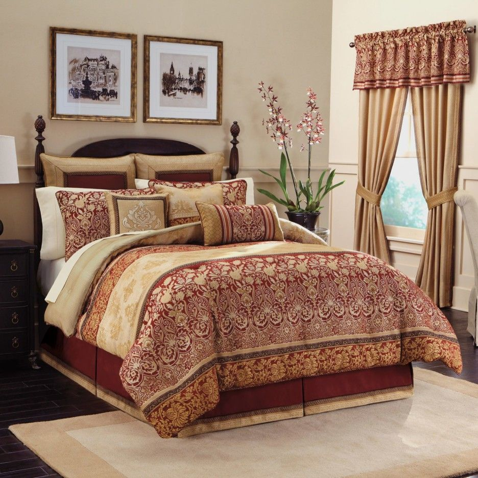 Comforter Sets With Curtains Interior Golden Red Long Curtains Combined With Cream Red
