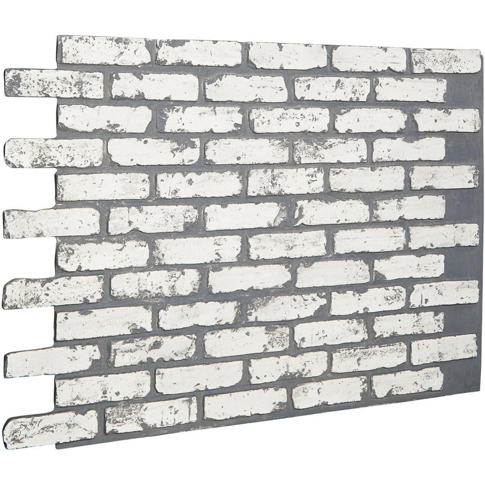 Ekena Millwork 7 8 In X 46 5 8 In X 33 3 4 In White Brick Urethane Old Chicago Brick Wall Panel Pn016nrwb The Home Depot Brick Wall Paneling Faux Brick Walls White Brick
