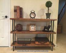 Industrial Bookshelf Pipe Free Standing Shelf Display Rustic Floor