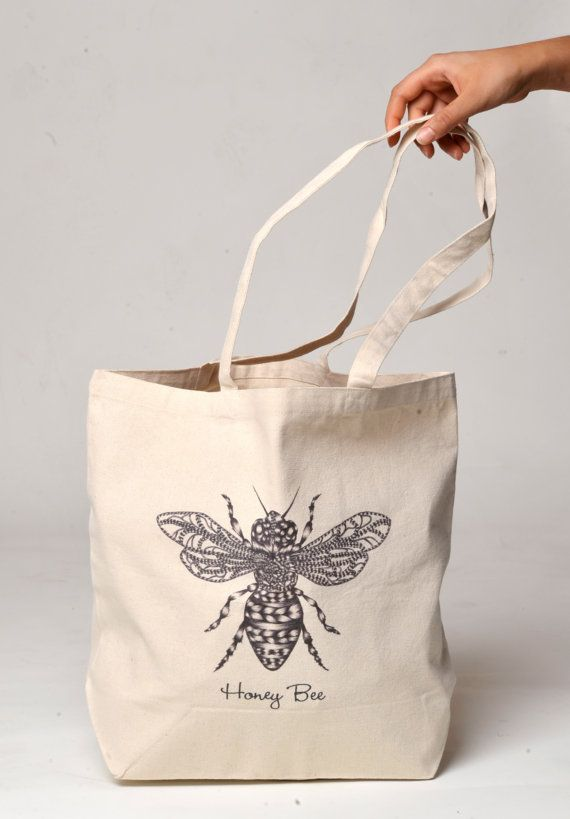 Double sided honey bee art print canvas tote bag by lacactus