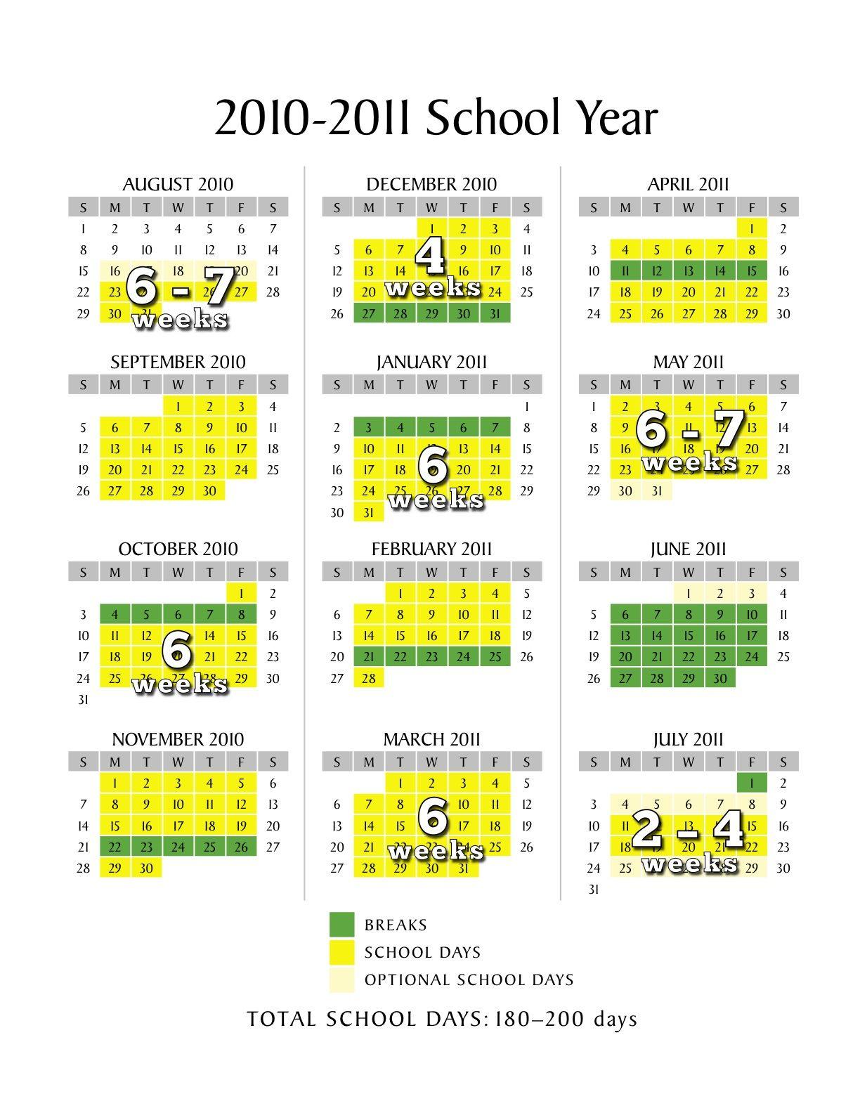 How many weeks in a school calendar year