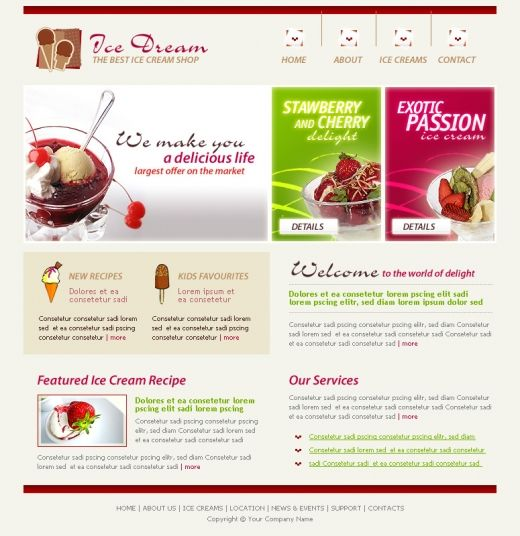 Ice cream box Template | Ice Dream Website Template | TemplatesBox ...
