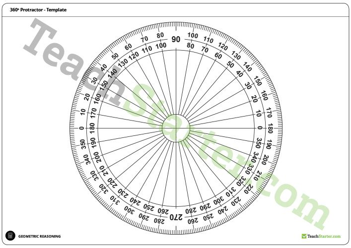 180 and 360 Degree Protractor Templates Teaching Resource Maths - degree templates
