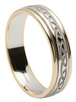 Engraved Celtic Weave Ring with Light Trim - Two Tone