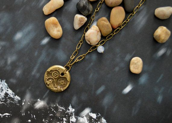 A-096 Antique bronze necklace, Clock necklace, Chunky necklace, Simple necklace, Modern necklace/Bridesmaid/gifts/Everyday jewelry/