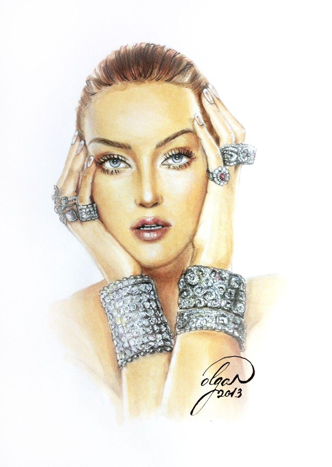 Lady in diamonds rings bracelet beautiful eyes fashion illustration beautiful face model Olga Dvoryanskaya copic markers