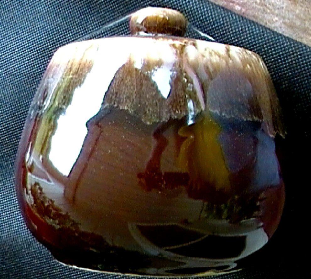 1960 S Mt Clemens Pottery Old Mirror Brown Drip Dripware Sugar W