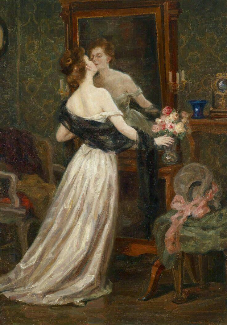 """Lady in boudoir before a mirror""""-Luma von Flesch Brunningen (1856 ..."""