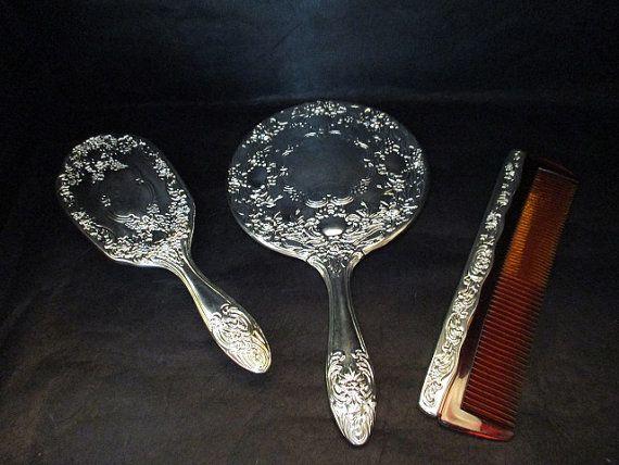 1950\u0027s Art Nouveau Silver Plated Vanity Set Brush Mirror and Comb & 1950\u0027s Art Nouveau Silver Plated Vanity Set Brush Mirror and Comb ...