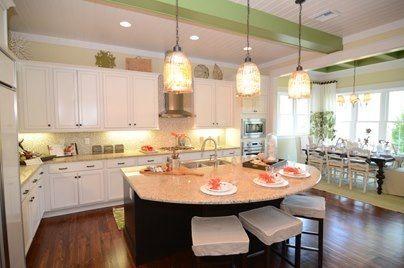 awesome shaped kitchen island | Awesome kitchen island. I really like the half-moon shape ...