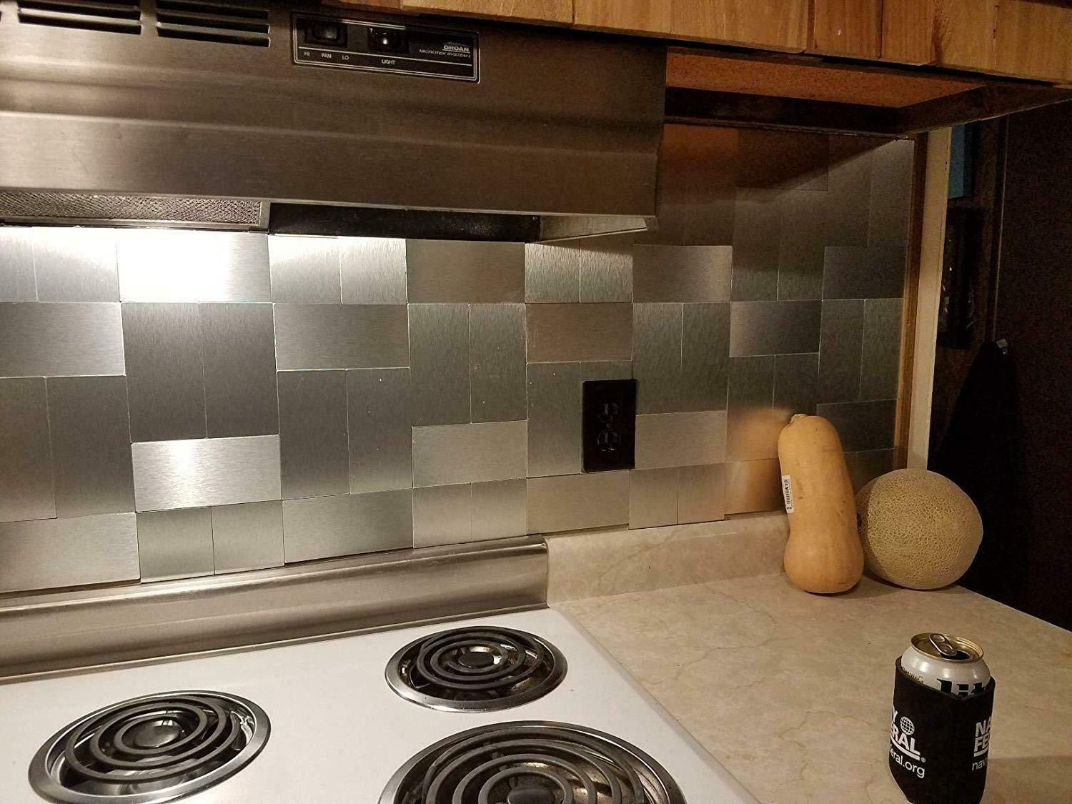 Art3d 32 Piece Peel And Stick Stainless Steel Backsplash Tiles 3