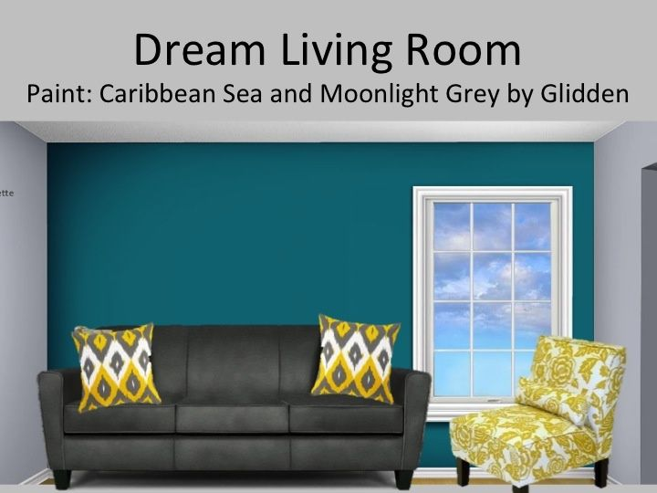 teal accent wall in living room