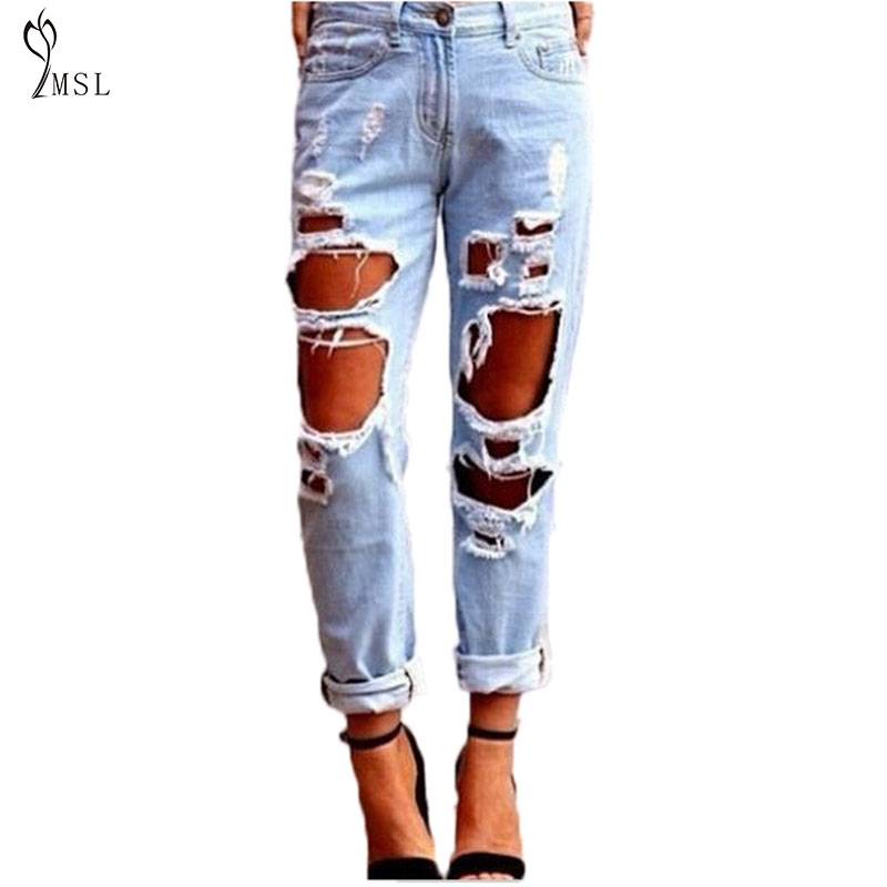 11.49$  Buy here - http://aliimq.shopchina.info/go.php?t=32797328541 - 40%Y706YZ  New lady high waist big size sexy tight exaggerated big hole wild personality Slim jeans 11.49$ #bestbuy
