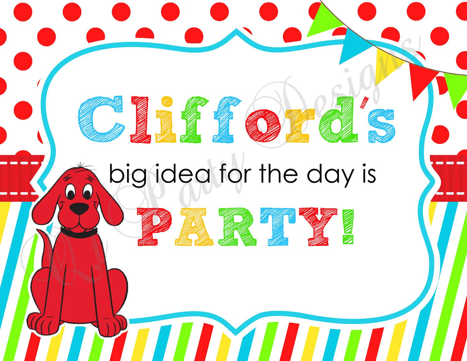 Diy Printable Clifford The Big Red Dog Party Sign Digital