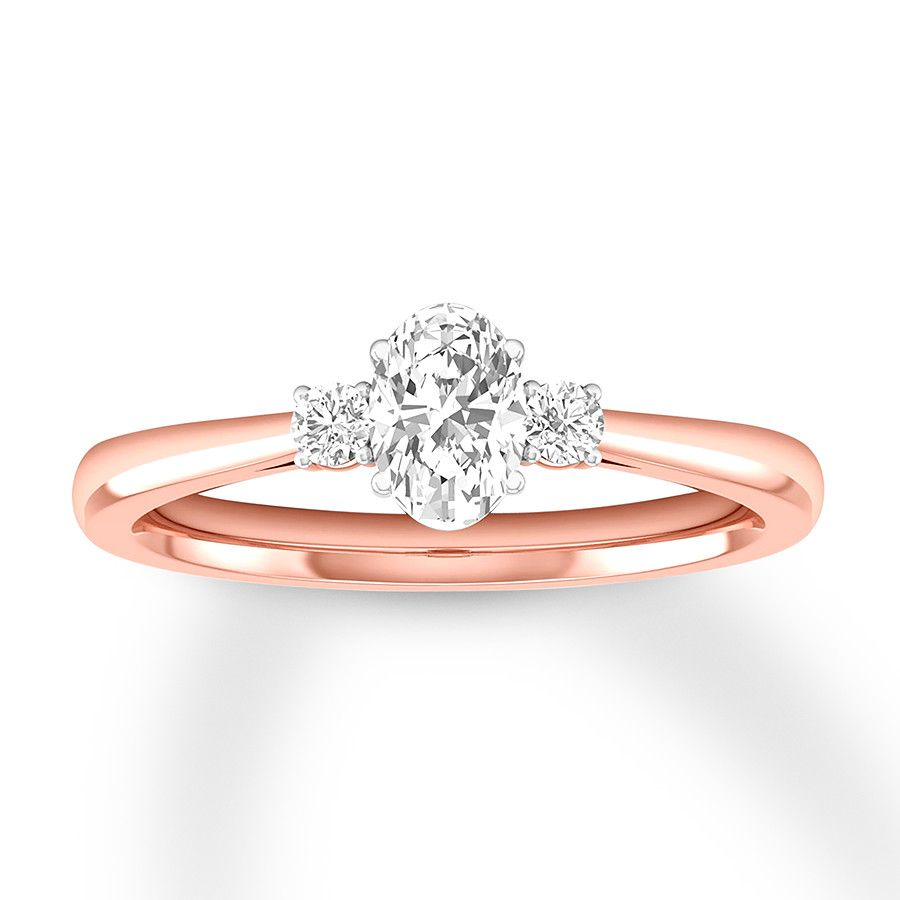 44dc3ceb980352 Three-Stone Diamond Ring 1/2 ct tw Oval/Round 14K Rose Gold - 992644308 -  Kay