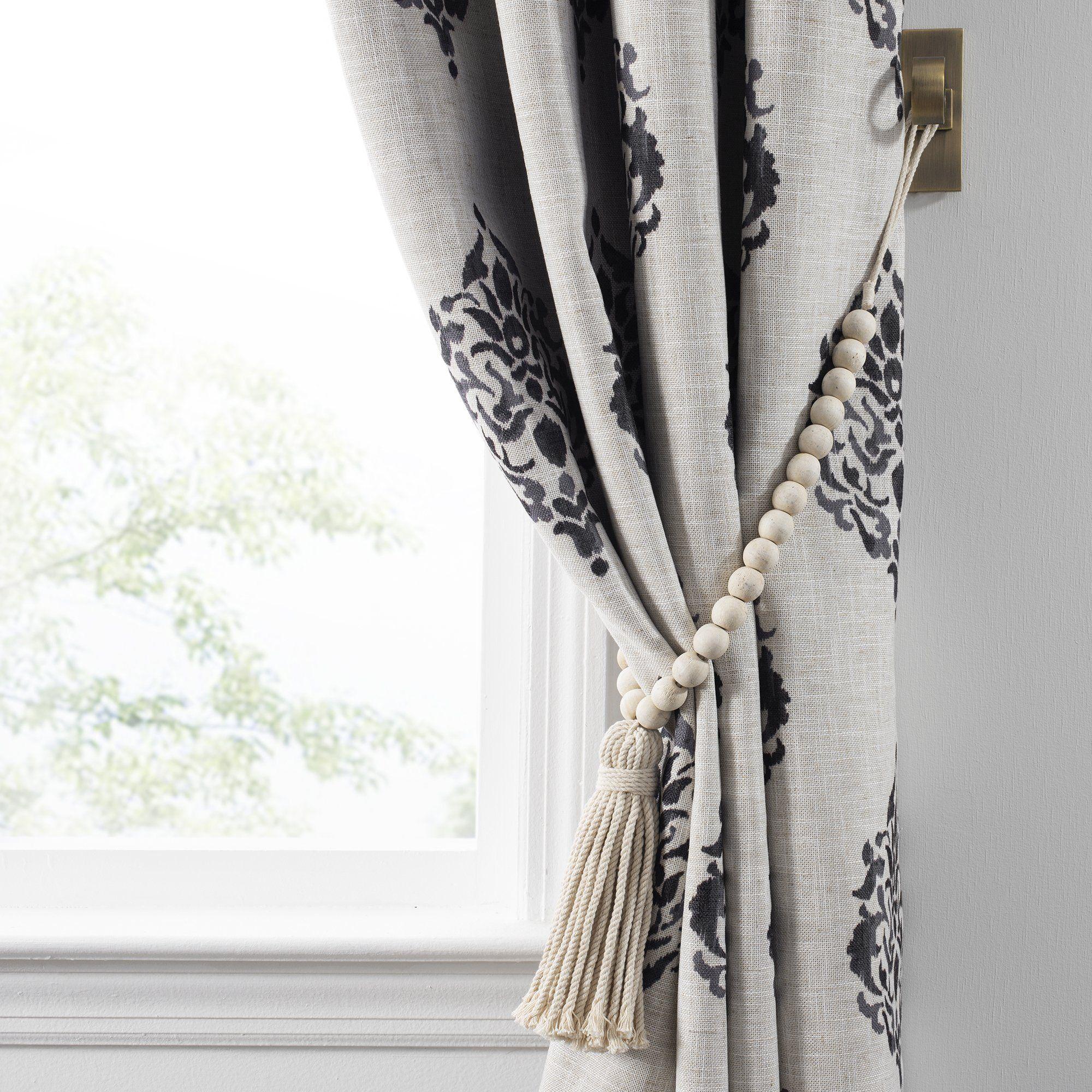 Nomad Decorative Wooden Fringe Tassel Window Curtain Tieback In