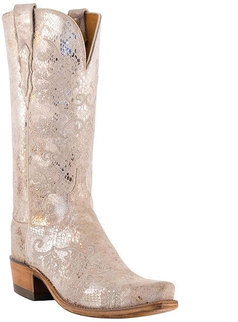 Lucchese 1883 White Sparkly Boots Oh My God