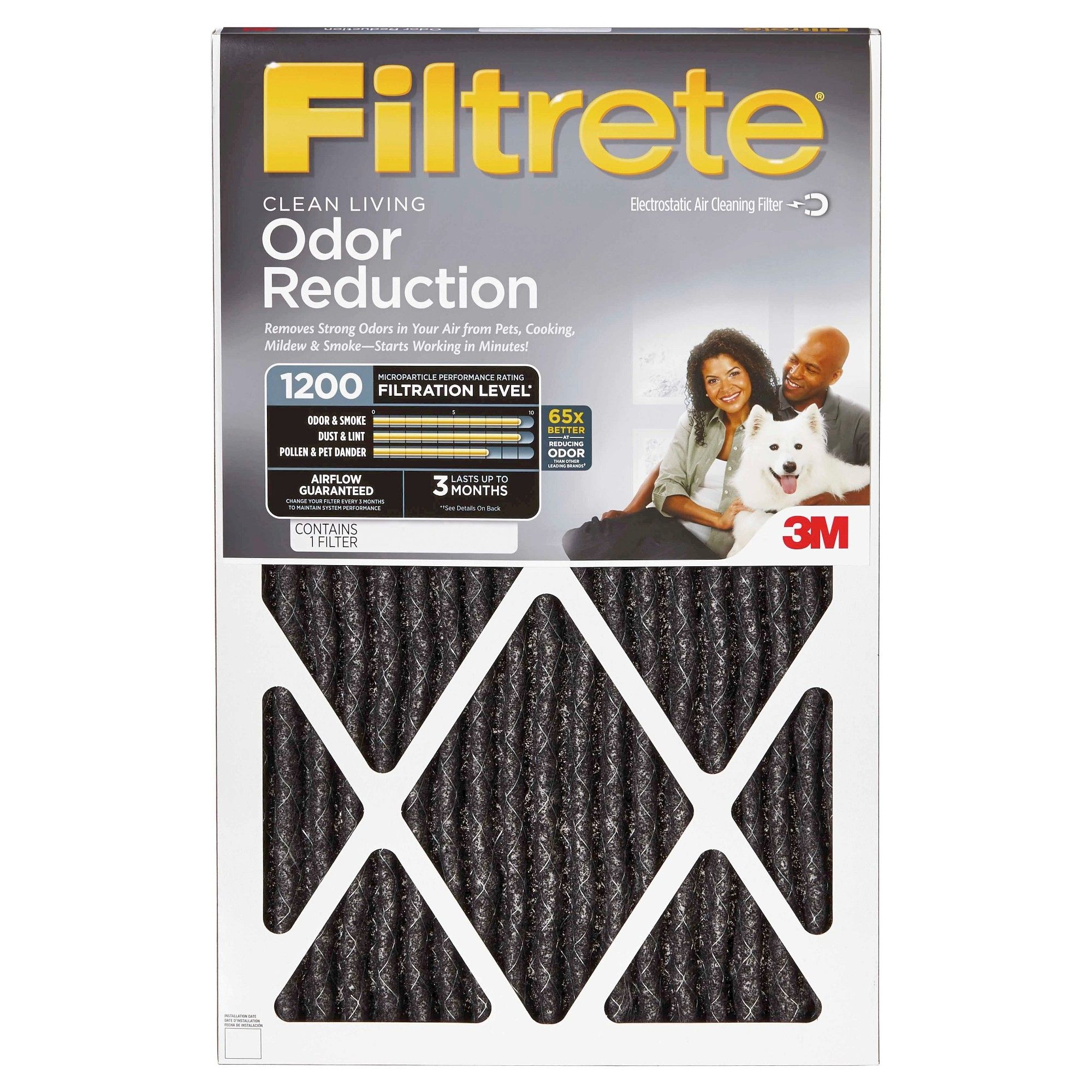 Filtrete Odor Reduction 20x20 x1, Air Filter, White