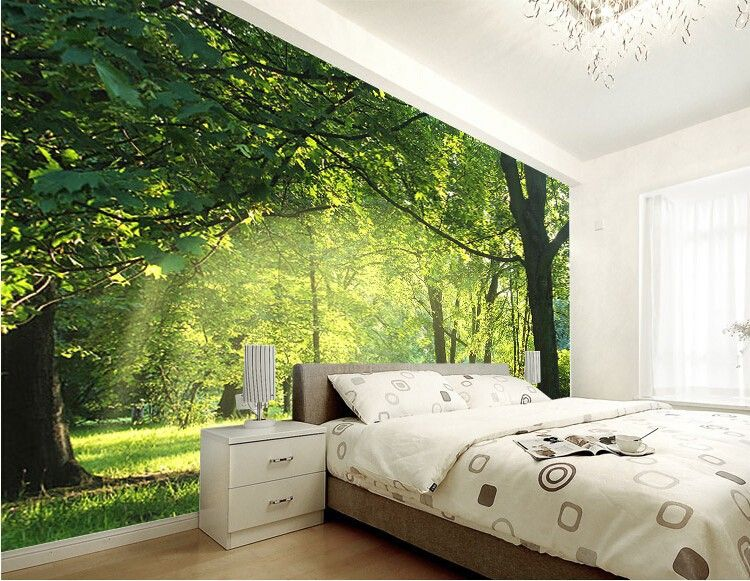 Custom 3d wallpaper idyllic natural scenery and flowers for Wallpaper for bedroom walls