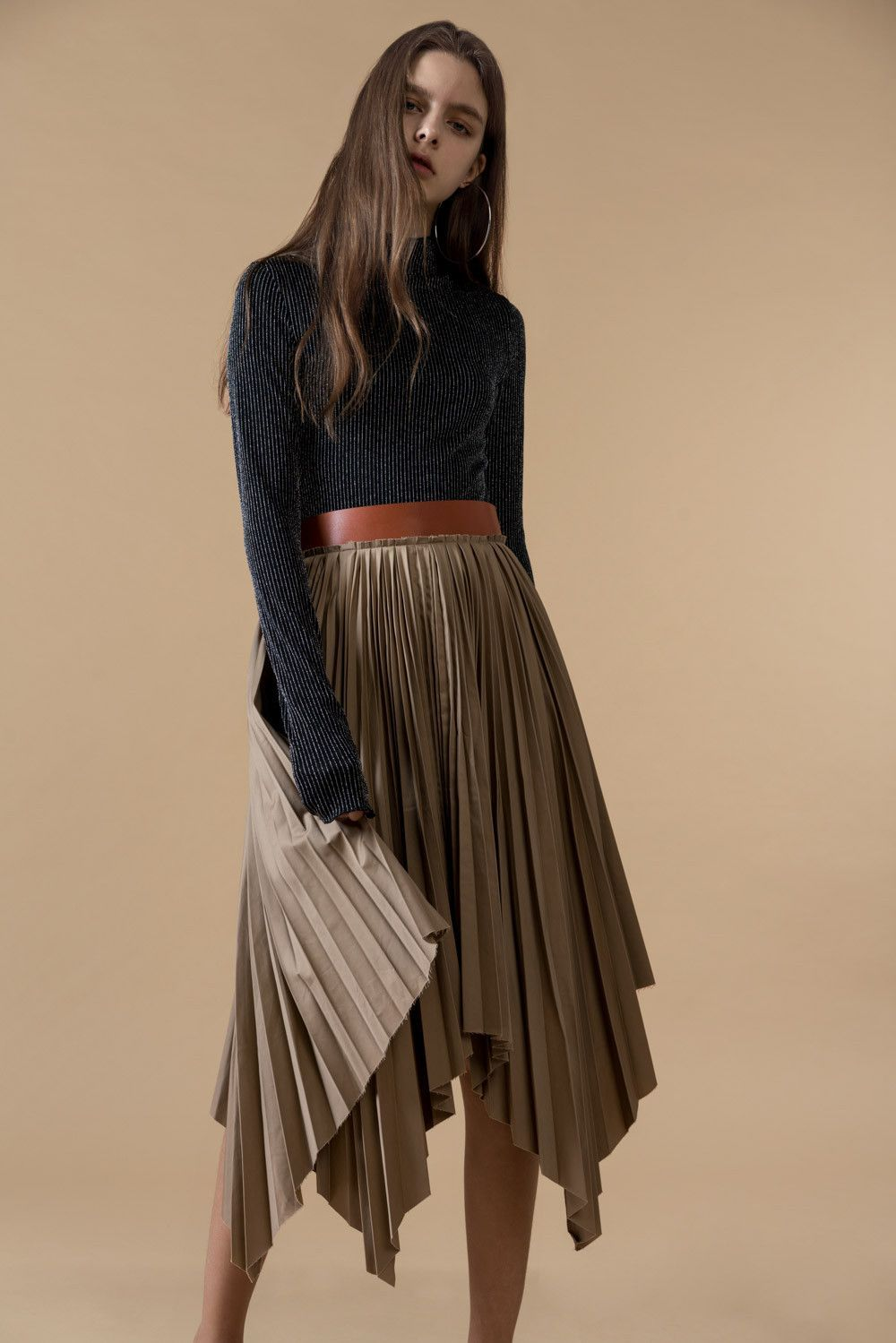 dddcadc7ca Genuine People Leather Belt Pleated Skirt | S K I R T S | Skirts ...