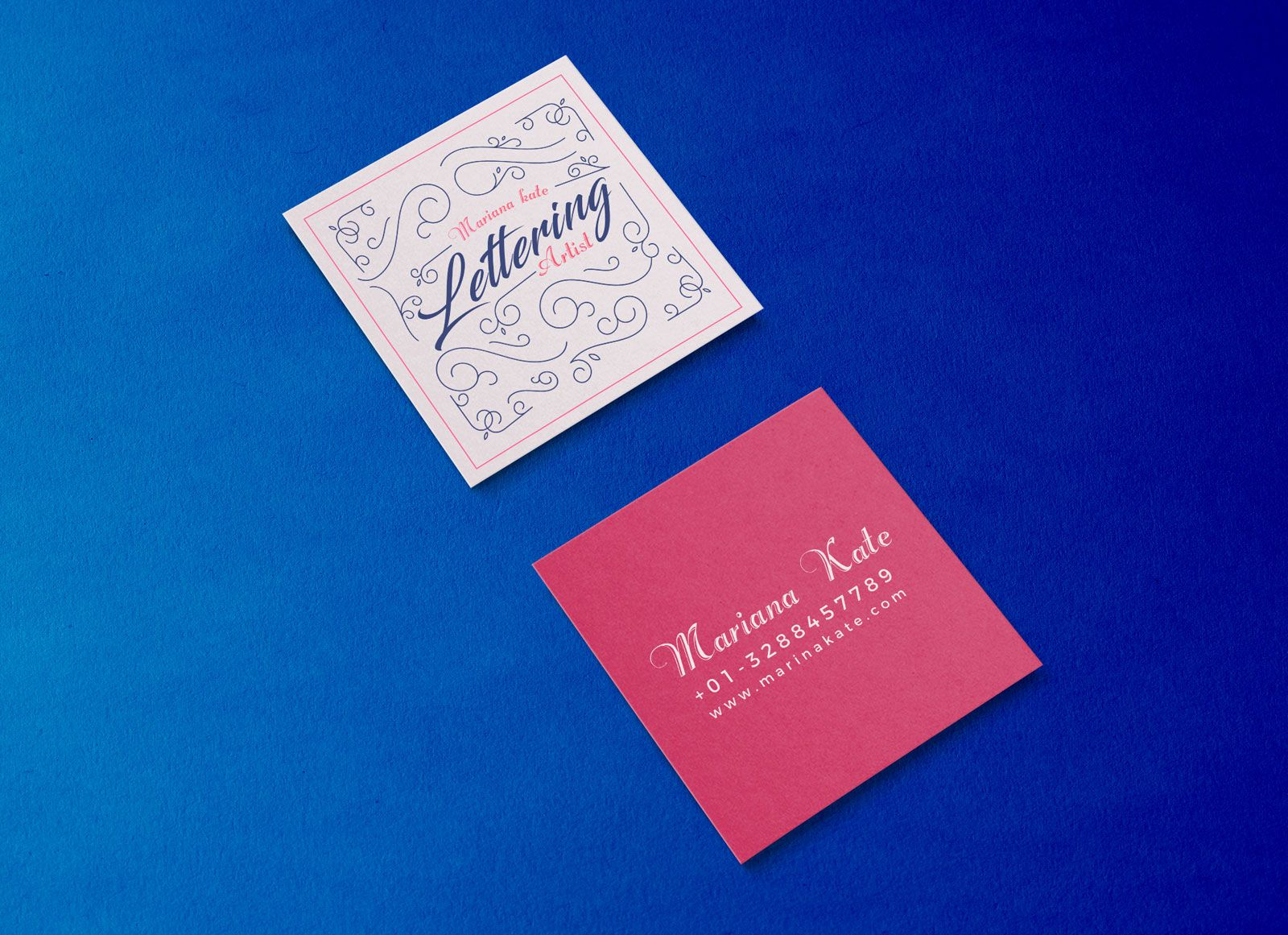 Free front back square business card mockup psd