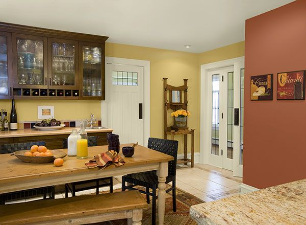Benjamin Moore Walls Marblehead Gold Accent Wall Audubon Russet Ceiling And Trim In