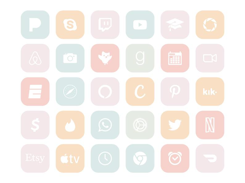 Cotton Candy App Icons, Pastel Unicorn Colors Rain