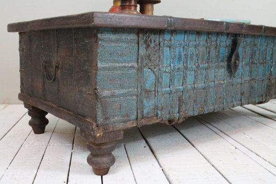 SALE Reclaimed Trunk Coffee Table Antique Indian Turquoise Blue Wood Iron  And Brass Storage Wedding Chest