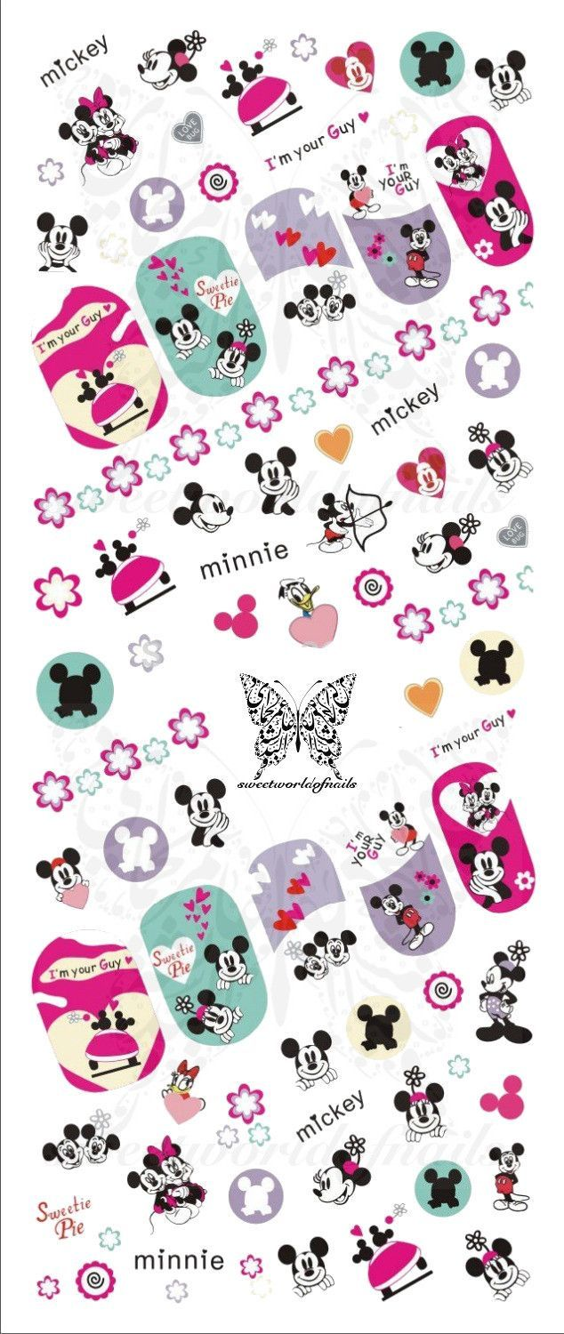 Disney Nail Art Colorful Mickey Mouse Minnie Mouse Bow Water Decals ...