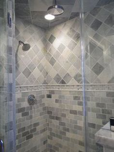 Amazing Tiled Shower   Pattern Is Nice But Too Much Contrast In The Colours For Me